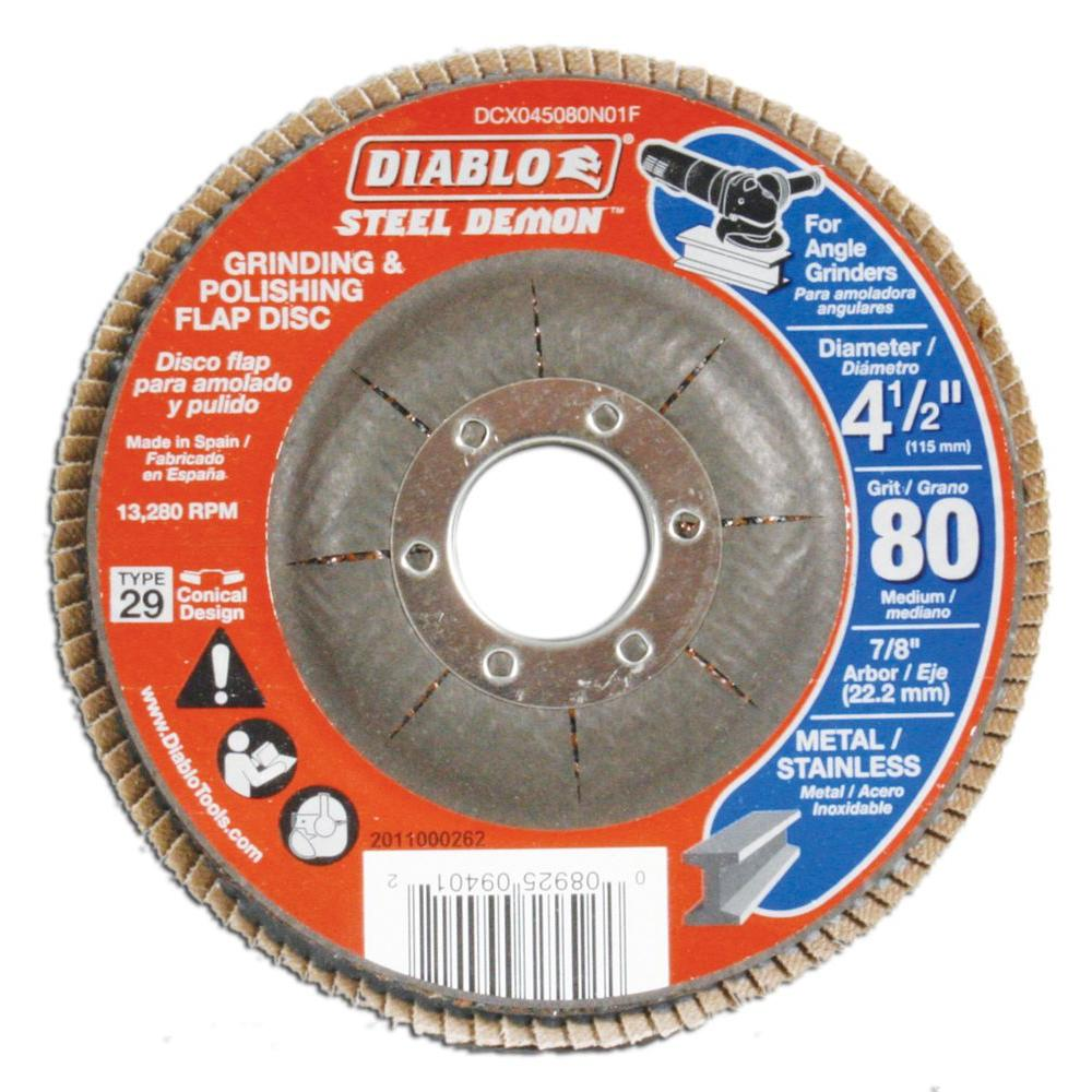 Diablo 4-1/2 in. 80-Grit Steel Demon Grinding and Polishing Flap Disc with Type 29 Conical Design
