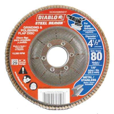 4-1/2 in. 80-Grit Steel Demon Grinding and Polishing Flap Disc with Type 29 Conical Design (5-Pack)