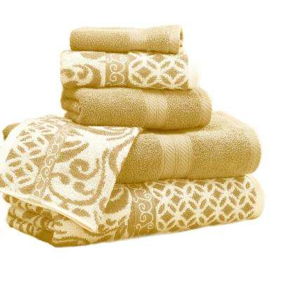 Trefoil Filigree 6 Piece Cotton Bath Towel Set In Gold