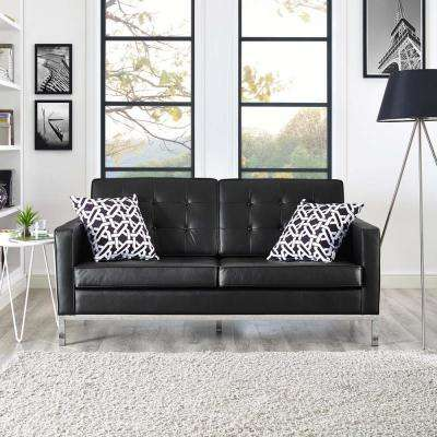 Loft Black Leather Loveseat