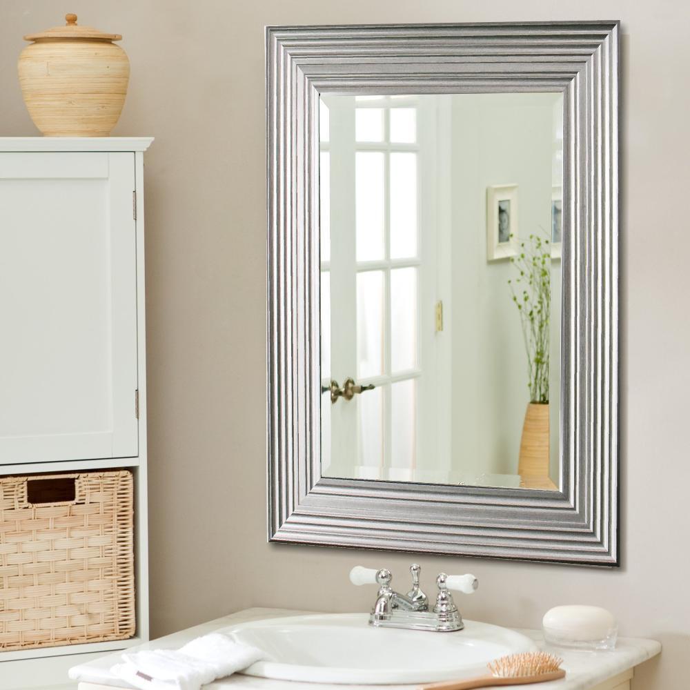 Y Decor Reflections 31 inch x 43 inch Bevel Style Framed Mirror in Silver Wood-Grain by Y Decor