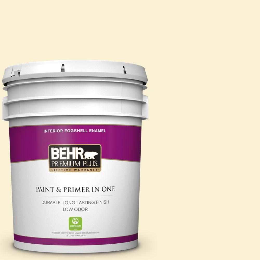 Behr Premium Plus 5 Gal 350a 2 Vanilla Milkshake Eggshell Enamel Low Odor Interior Paint And Primer In One 205005 The Home Depot