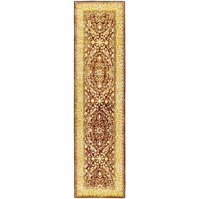 Silk Road Maroon and Ivory 3 ft. x 10 ft. Runner Rug