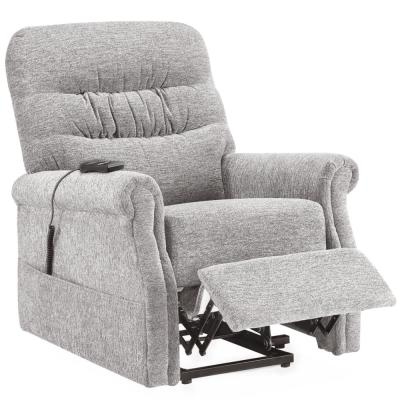 Gray Power Lift Recliner with Soft Fabric Upholstery and Remote