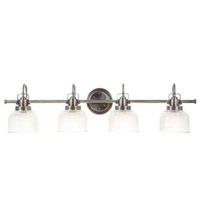 Archie Collection 35.5 in. 4-Light Antique Nickel Vanity Light with Clear Polished Glass Shades