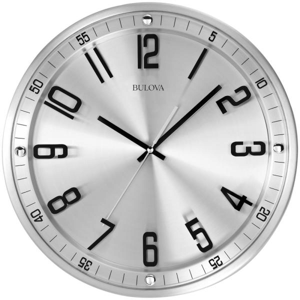 Bulova 13 in. H x 13 in. W Wall Clock in Brushed Stainless Steel Finish