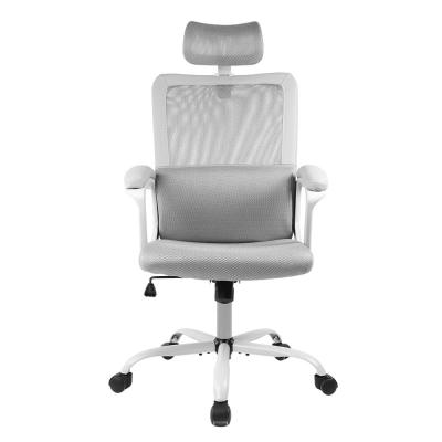 Gray Office Chair High Back Ergonomic Mesh Desk Chair with Padding Armrest and Adjustable Headrest