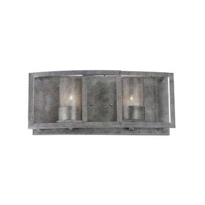 Jackson 2-Light Antique Silver Vanity Light with Arched Windowpane Glass