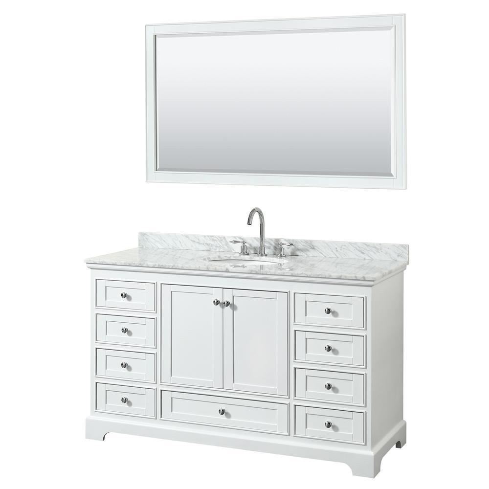 Deborah 60 in. Single Vanity in White with Marble Vanity Top in White Carrara with White Basin and 58 in. Mirror