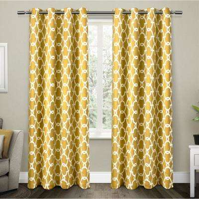 Gates 52 in. W x 84 in. L Woven Blackout Grommet Top Curtain Panel in Sundress Yellow (2 Panels)