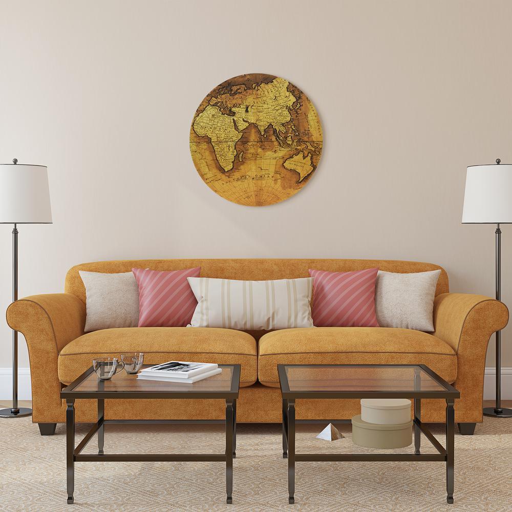 """Hemisphere B"" Circular Gold Canvas Giclee Printed on 2"" Wood Stretcher Wall Art"