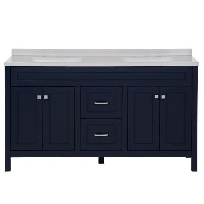 Maywell 60.5 in. W x 18.75 in. x 37.7 in. H Bath Vanity in Blue with Solid Surface Vanity Top in Snow with White Basin