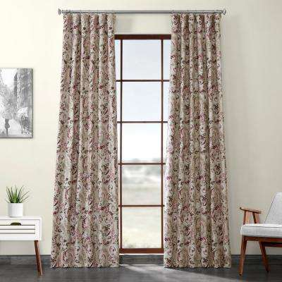 Sonoma Cabernet Purple Printed Linen Textured Blackout Curtain - 50 in. W x 120 in. L (1-Panel)