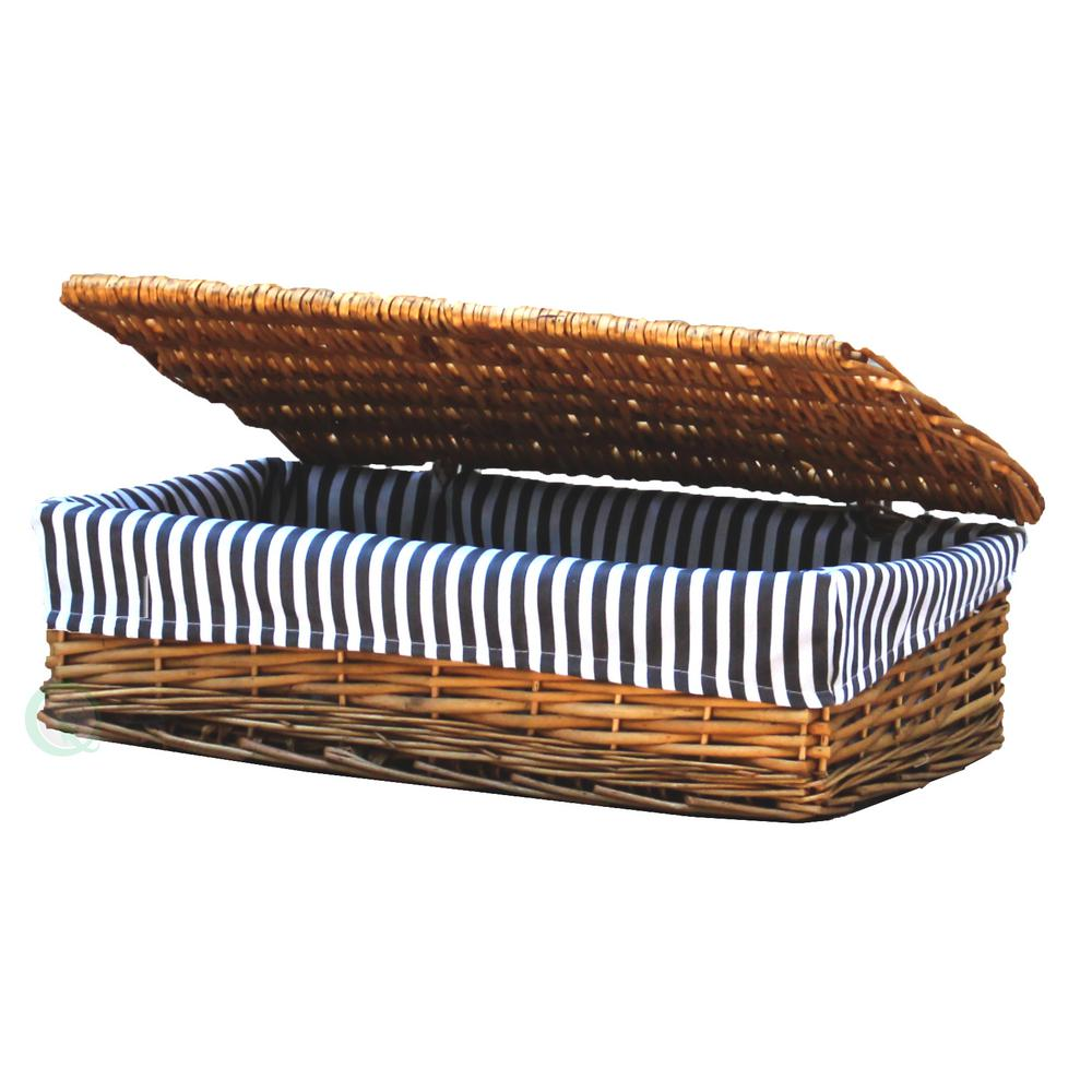 Vintiquewise Lined Wicker Storage Shelf Baskets With Lid