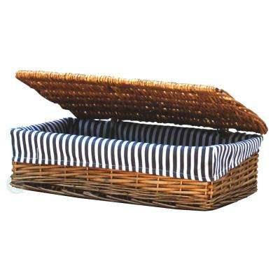 Lined Wicker Storage Shelf Baskets With Lid, Small
