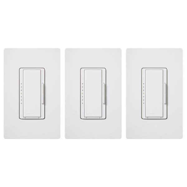 Maestro LED+ Dimmer Switch for Dimmable LED, INC/HAL Bulbs, Single-Pole or Multi-Location, with Wallplate White (3-Pack)