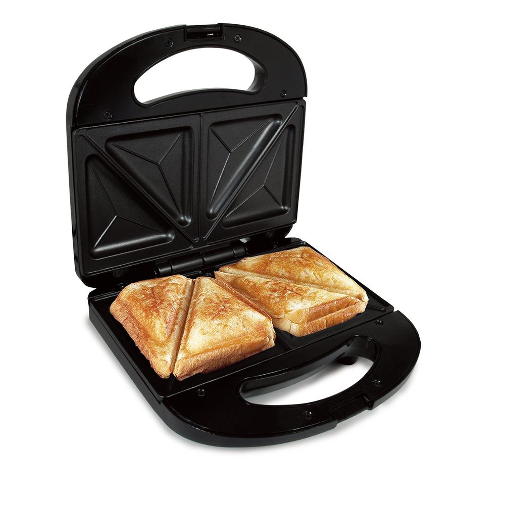 Better Chef Sandwich Grill, Black Make delicious, wholesome sandwiches in minutes with this sandwich grill by Better Chef. This compact grill features non-stick cooking plates ensure easy food release and clean-up, and a stay cool exterior to prevent burns and scalds. It conveniently comes with two plates for easy grilling of two sandwiches at once. Color: Black.