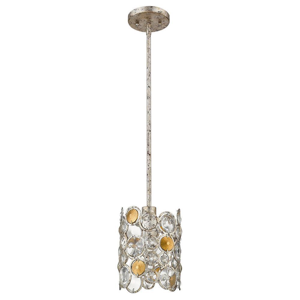 Vitozzi 1-Light Antique Silver Leaf Pendant