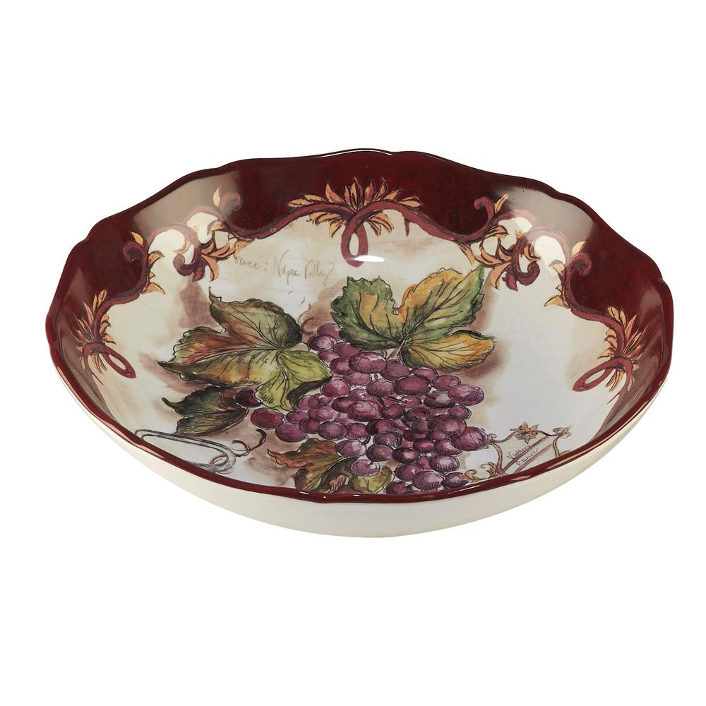 Vintners Journal Multi-Colored 13.5 in. x 2.75 in. Serving/Pasta Bowl