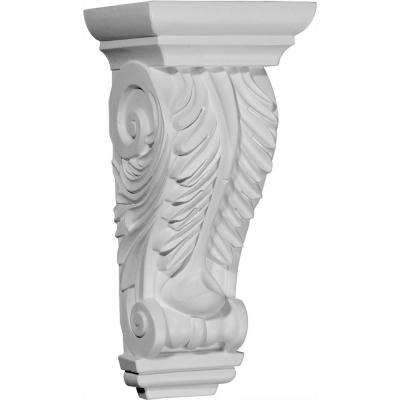 5-3/4 in. x 4-3/4 in. x 12-3/8 in. Primed Polyurethane Odessa Acanthus Leaf Corbel