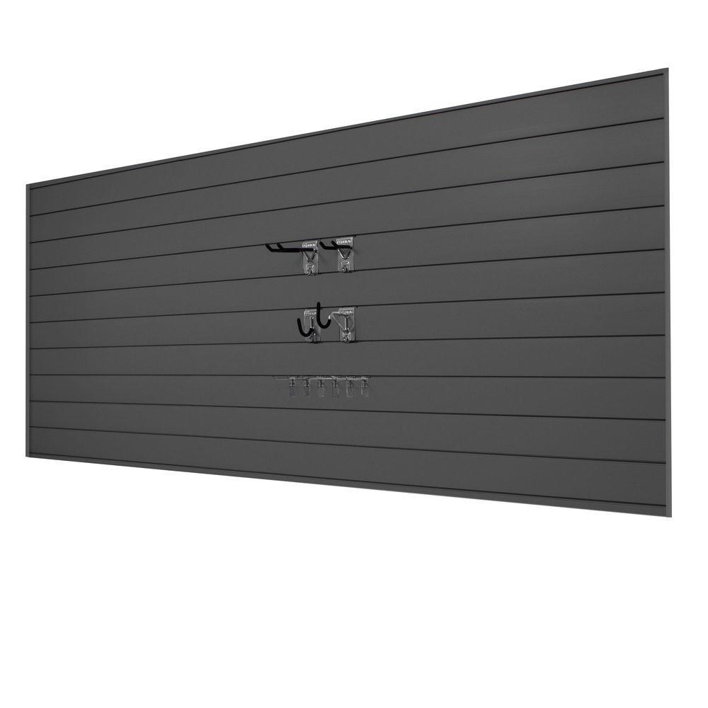 PVC Slatwall 8 ft. x 4 ft. Charcoal Mini Bundle (20-Piece)