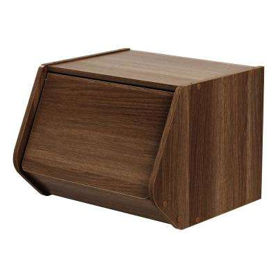 Dark Brown Modular Wood Stacking Storage Box with Door