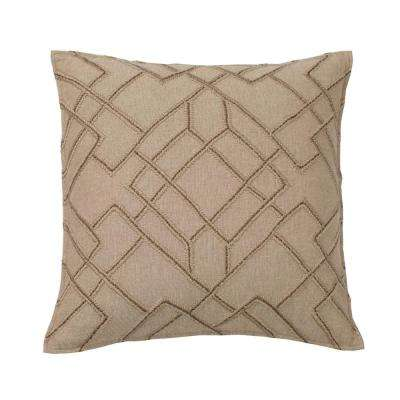 Embroidered Decorative Pillow Cover in Neutral Geo, 20 in. x 20 in.
