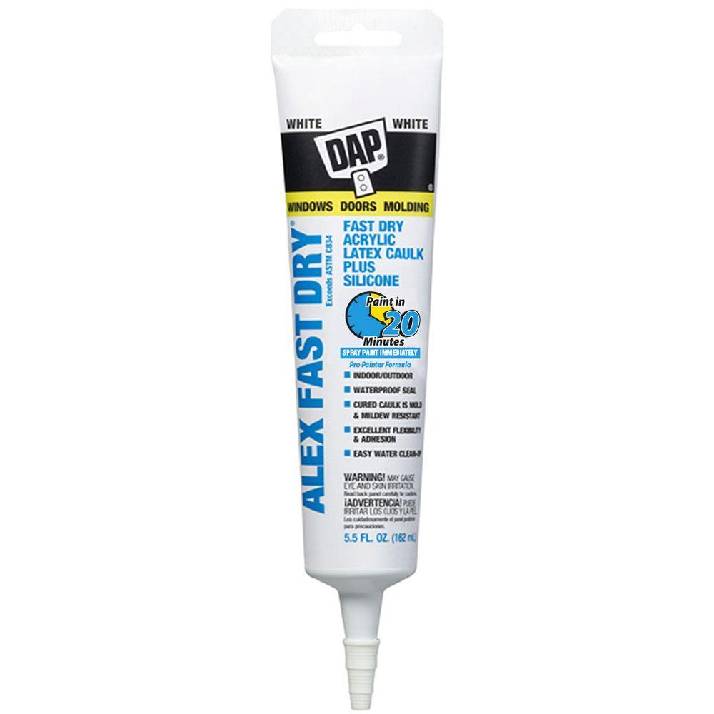 Alex Fast Dry 5.5 oz. White Acrylic Latex Caulk Plus Silicone