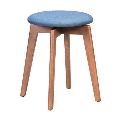Billy 19.3 in. Walnut and Ink Blue Stool (Set of 2)