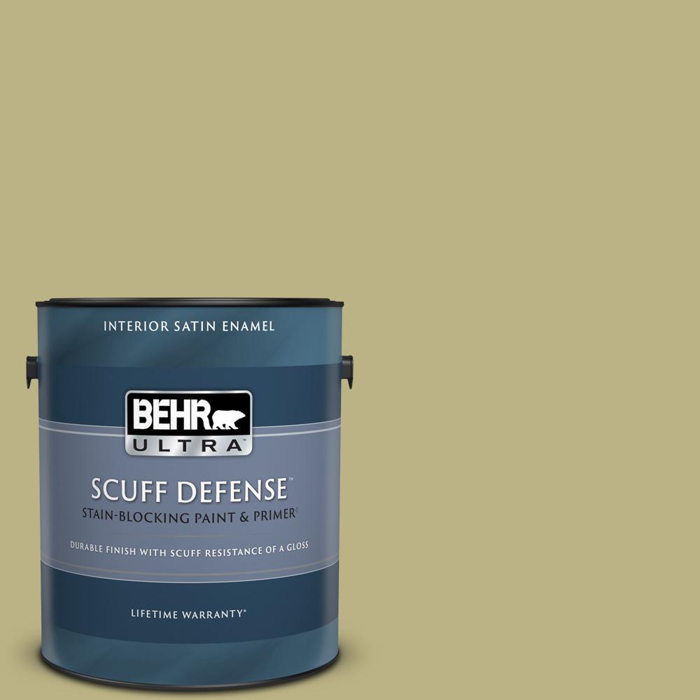 Behr Marquee 8 Oz 390f 5 Ryegrass Satin Enamel Interior Exterior Paint Primer