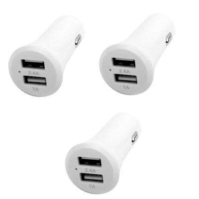 3.4 Amp 2-Port ABS Car Charger, White (3-Pack)