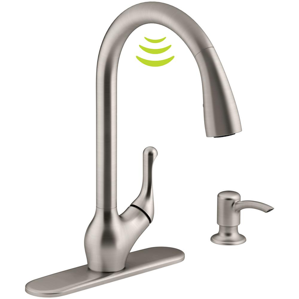 KOHLER Barossa With Response Touchless Technology Single Handle Pull Down Sprayer Kitchen Faucet In