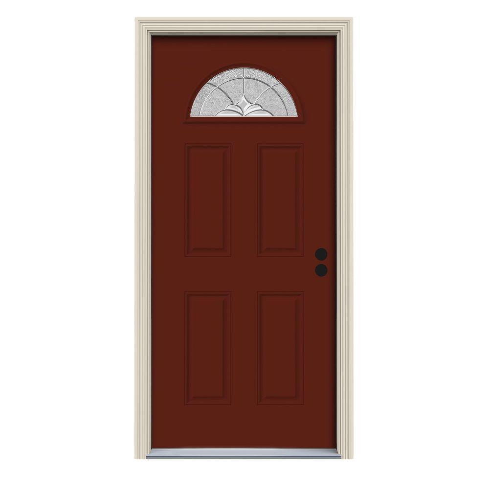 30 in. x 80 in. Fan Lite Langford Mesa Red Painted Steel Prehung Left-Hand Inswing Front Door w/Brickmould