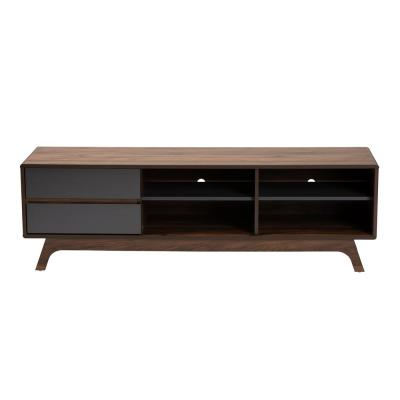 Koji 59 in. Grey and Walnut Particle Board TV Stand with 2 Drawer Fits TVs Up to 64 in. with Cable Management
