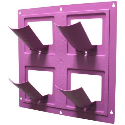 WallFlowers 17 in. Square Resin Living Wall Hanging Flower Planter in Radiant Orchid Purple (4-Pot)
