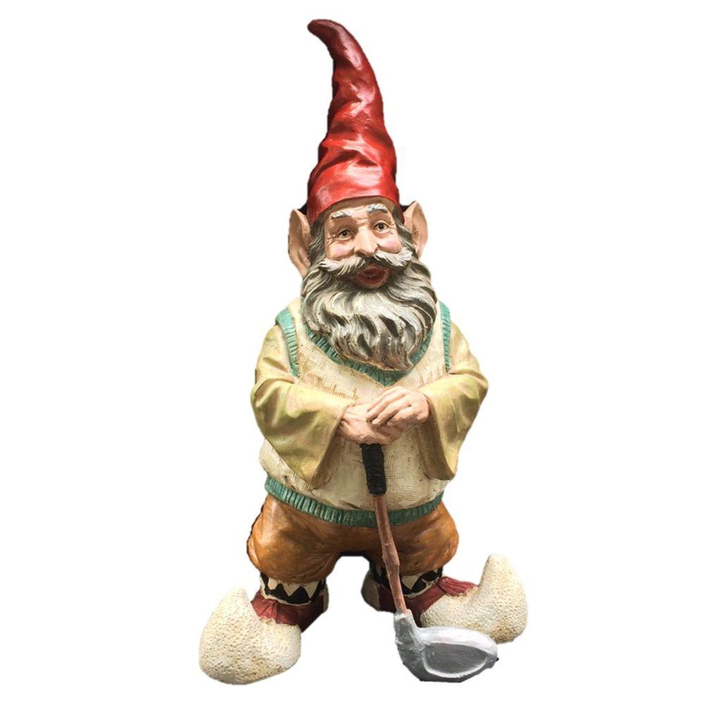 Gnome In Garden: Toad Hollow 21 In. Golfer Gnome Holding Golf Club