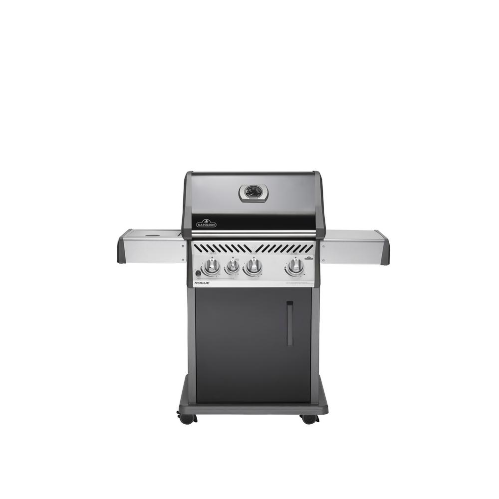 napoleon rogue 425 with range side burner propane gas grill in stainless steel r425sbpk the. Black Bedroom Furniture Sets. Home Design Ideas