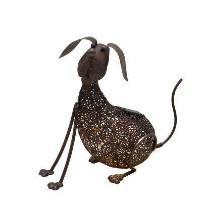 14.2 in. Steel Indoor/Outdoor Animal Garden Dog Metal Puppy Sculpture Statue with Solar Light