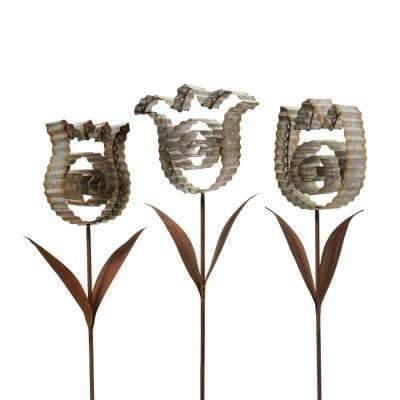 28.25 in. Tall Rustic-Style Metal Flower Yard Stakes with Corrugated Look (3-Set)