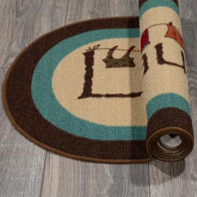 Laundry Collection Modern Design Brown 1 ft. 8 in. x 4 ft. 11 in. Oval Runner Rug
