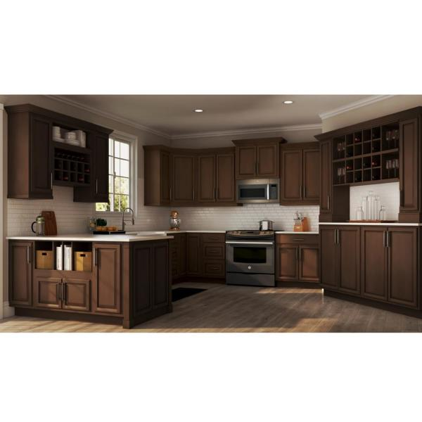 Hampton Bay Hampton Assembled 18x30x12 In Wall Flex Kitchen Cabinet With Shelves And Dividers In Cognac Kwfc1830 Cog The Home Depot