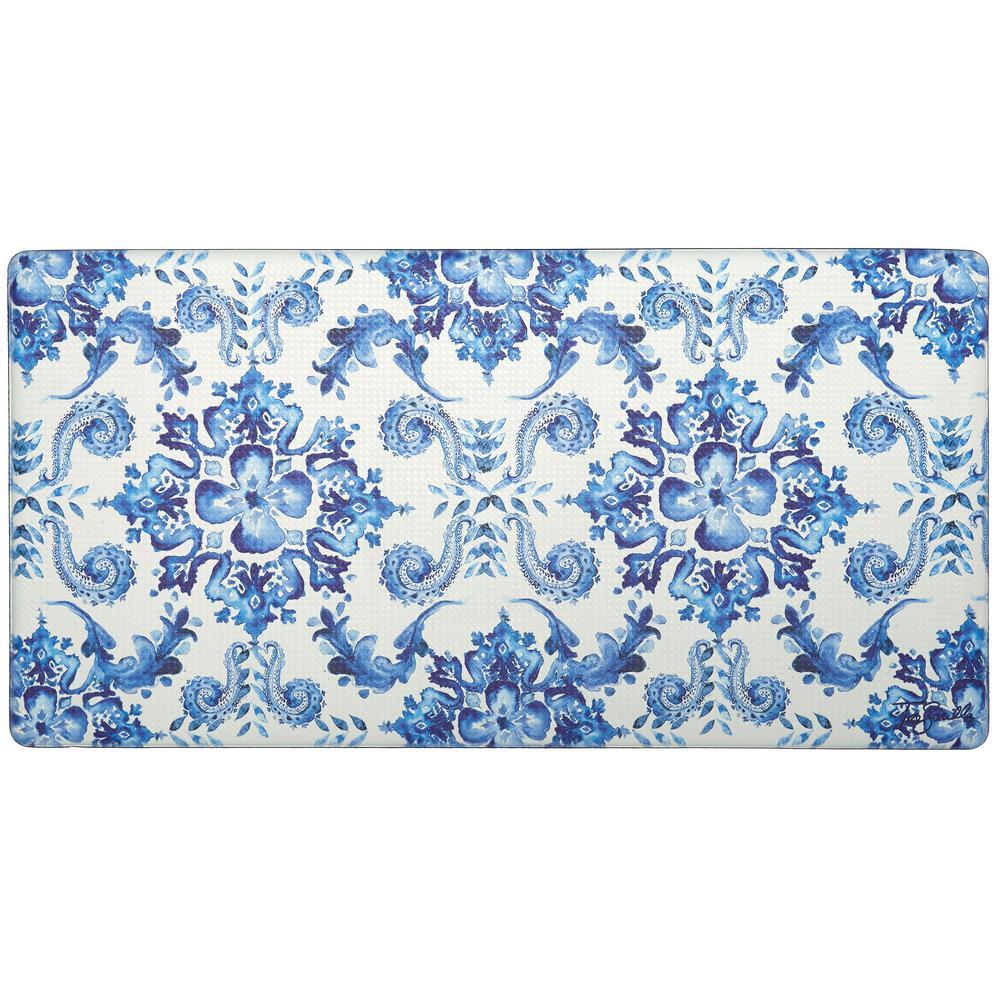 Nicole Miller Cook N Comfort Blue Poppy Sketch Tile 20 in. x 39 in. Kitchen  Mat