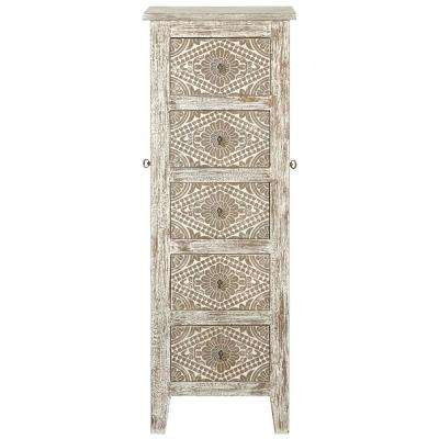 Kianna 5-Drawer Jewelry Armoire with Mirror in Silver Off-White
