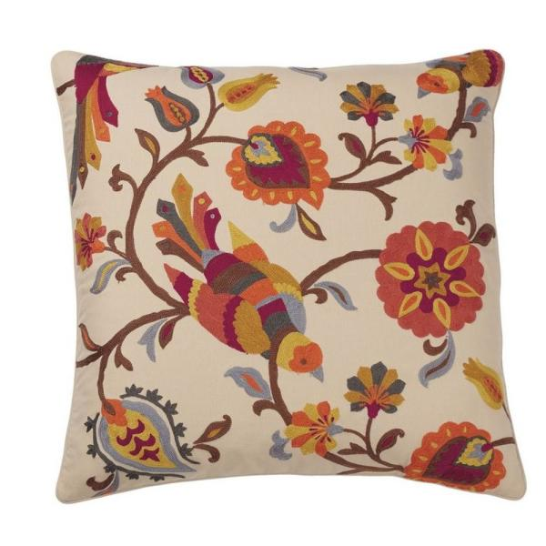 Embroidered Gold Bird 26 in. x 26 in. Decorative Throw Pillow Cover