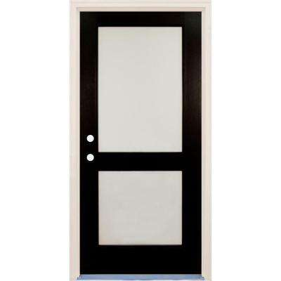 36 in x 80 in Elite Inkwell RH 2 Lite Satin Etch Glass Contemporary Painted Fiberglass Prehung Front Door w/ Brickmould