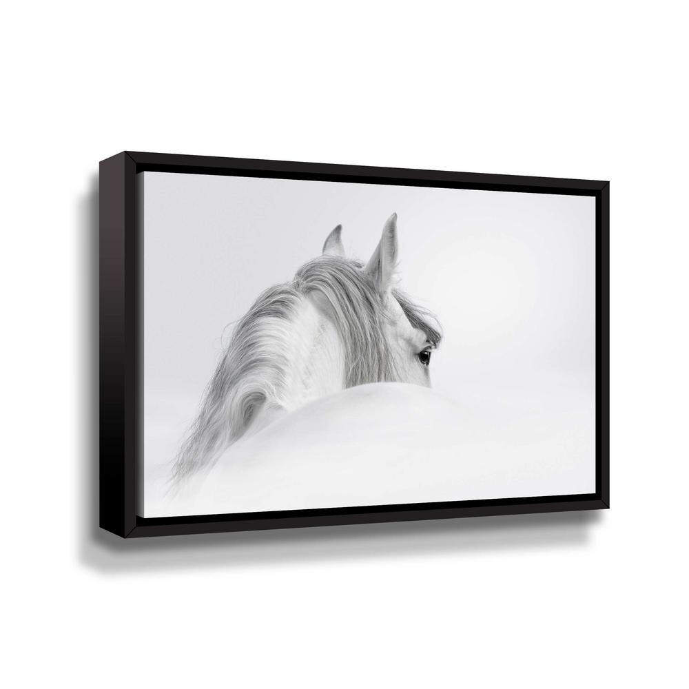 ArtWall White horse' by PhotoINC Studio Framed Canvas Wall Art