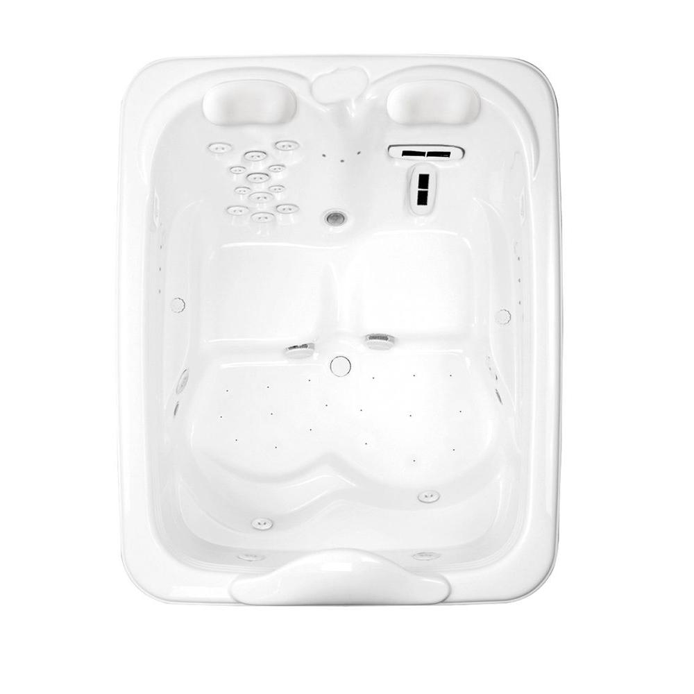 Aquatic Millennium 7 - 72 in. Acrylic Center Drain Rectangular Drop-In Whirlpool Bathtub in White