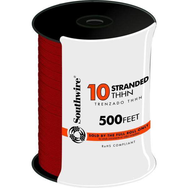 500 ft. 10 Red Stranded CU THHN Wire