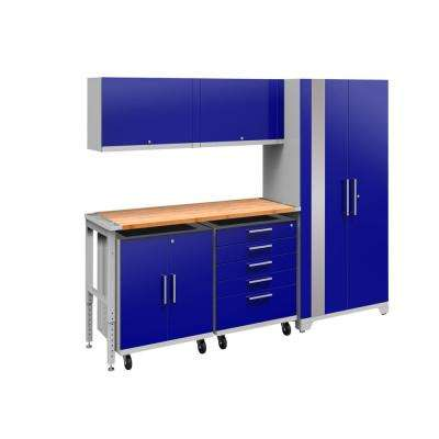 Performance Plus 2.0 80 in. H x 97 in. W x 24 in. D Steel Garage Cabinet Set in Blue (6-Piece) with Bamboo Worktop