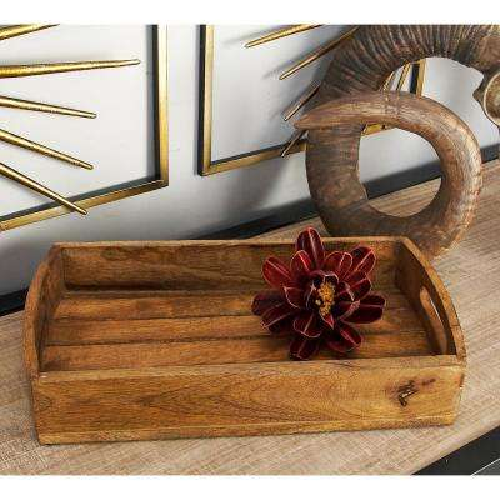 Mahogany Brown Slat Wood Trays (Set of 3)